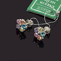 Сережки пусеты Василек с цветными камнями
