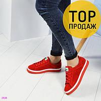 Женские кеды Lacoste, красного цвета / кеды женские Лакоста, замшевые, легкие, стильные