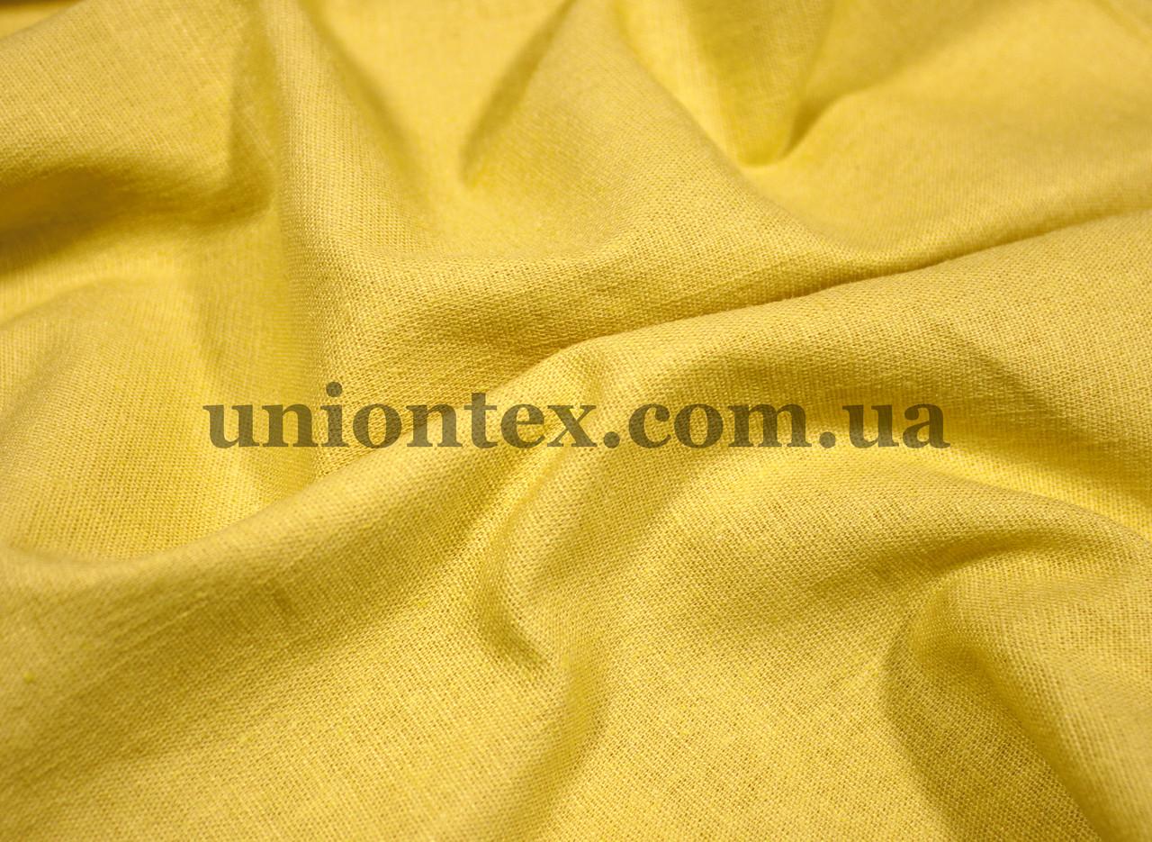 Ткань лён стрейчевый желтый