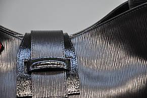 Сумка Assa 1138 большая кожаная черная палия женская, фото 3