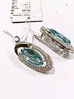 Серебряные серьги голубой циркон
