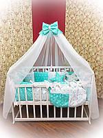 Комплект детского постельного белья в кроватку голубой