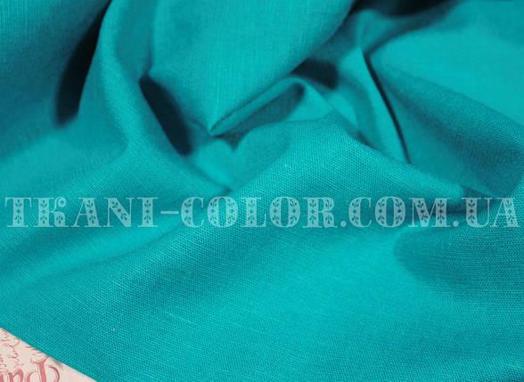 Ткань лён стрейч голубая бирюза, фото 2