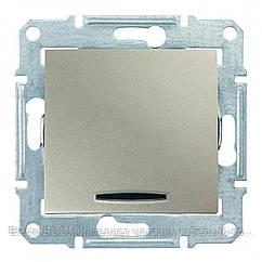 1-клавишный выключатель Schneider Sedna с синей подсветкой Титан (SDN1400168)