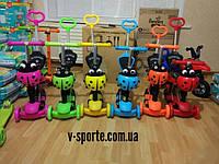 Самокат с родительской ручкой светящимися колесами выдвижным рулем деткам от 1 года божья коровка