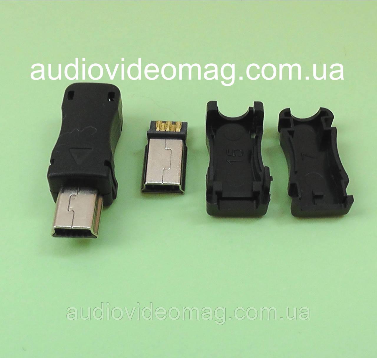 Штекер mini USB разборной на кабель для пайки
