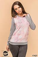 Весенний молодежный свитшот с цветочным рисунком розового цвета. Размеры 42-46. Модель 17427, фото 1