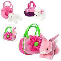 Мягкая игрушка MP 1465 (24шт) животное, 18см, сумка, 3вида(кот,зайчик,собачка), в кульке,21-17-5см
