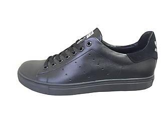 Мужские кроссовки Adidas Stan Smith  черный(кожа)