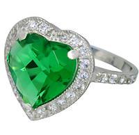 Серебряное кольцо Сердце океана зеленый фианит