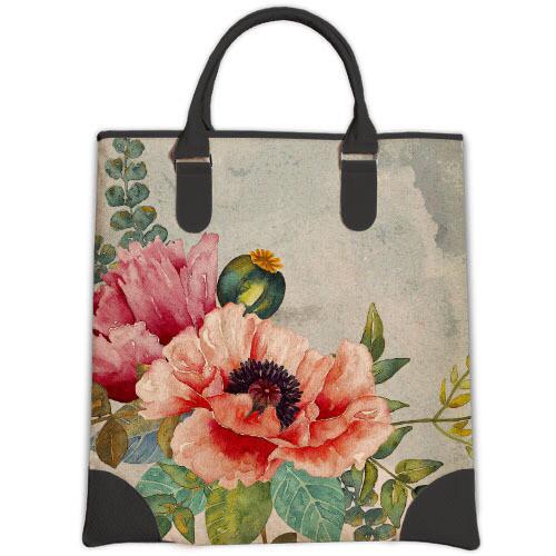 Большая вместительная женская сумка Мини с принтом Маки