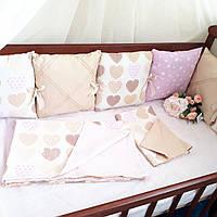 Бортики в кроватку на 3 стороны + комплект постельного белья