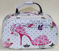 Косметичка - чемоданчик, белая, розовая туфля, фото 1