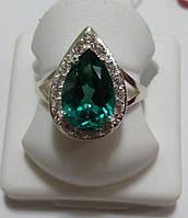 Кольцо Капля из серебра с зеленым кварцем, фото 1