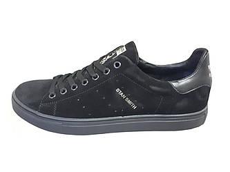 Мужские кроссовки Adidas Stan Smith  черный(замша)