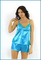Пижама ночная голубая атлас + кружево-стрейч