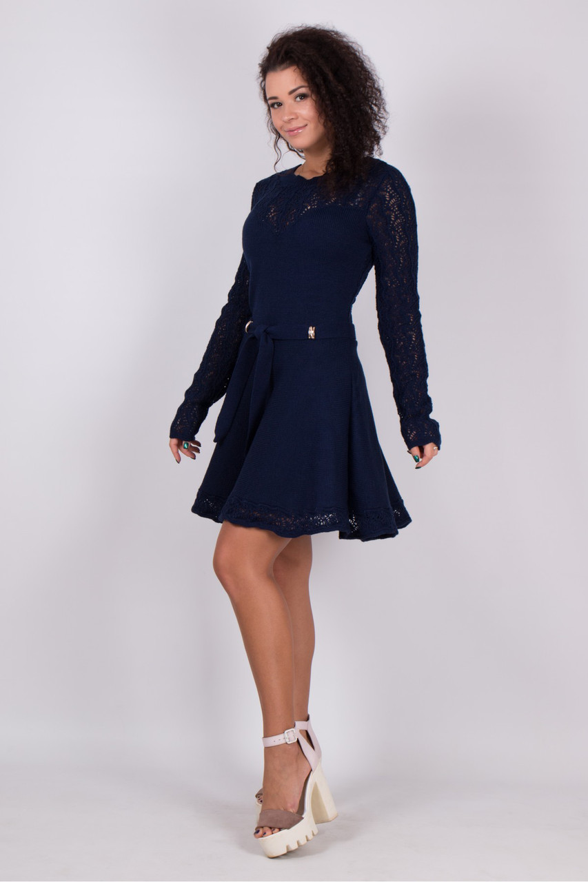 Легкое вязаное платье с ажурным узором 3цвета
