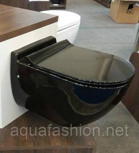 Унітаз чорний підвісний з кришкою NEWARC Modern