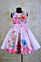 Платье нарядное для девочки 7-9 лет Розы 3D розовое Dina1802-1/045