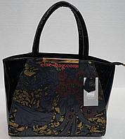 Лаковая женская сумка с кожей