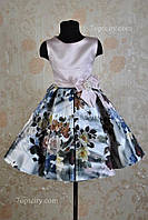 Платье нарядное для девочки 7-9 лет Розы 3D пудра Dina1802-2/045
