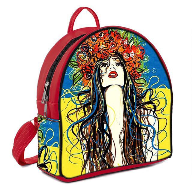 Красный женский городской рюкзак с рисунком Украинка