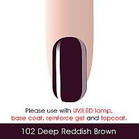 Гель-лак Canni 102 темный коричнево-красный 15ml