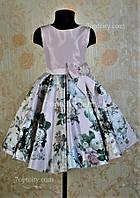 Платье нарядное для девочки 7-9 лет Розы 3D пудра Dina1802-3/045