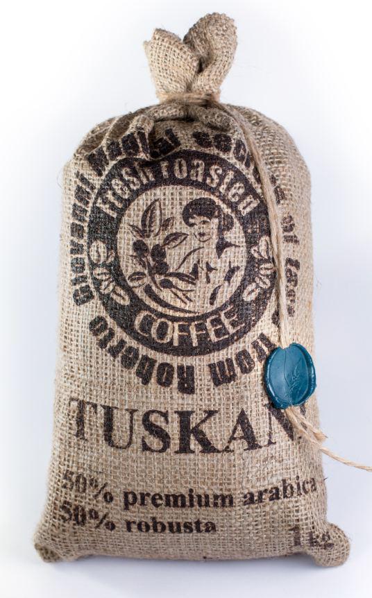 Итальянский кофе в зернах, 50% премиум арабика 50% робуста TUSKANI