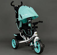 Детский Велосипед трехколёсный Бест Трайк Best Trike 6570 бирюзовый с большими колёсами (вспененная резина).