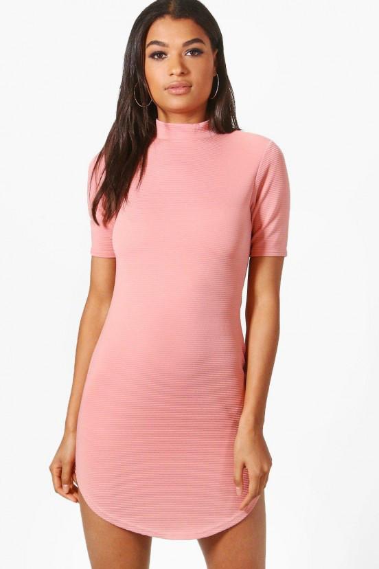Новое платье в рубчик с закругленным низом Boohoo