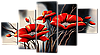 Модульная картина Ветки маки 140* 80 см Код: w8435