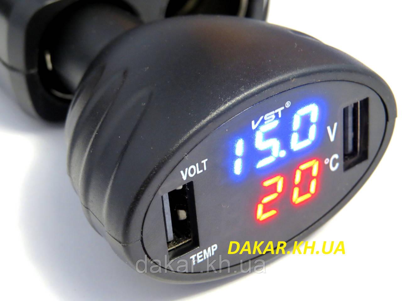 5cb19f09e662 Автомобильный термометр вольтметр USB зарядка VST 708 чёрный в  прикуриватель, фото 1