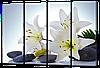 Модульная картина Белые лилии , камни 94 * 64 см Код: w6398