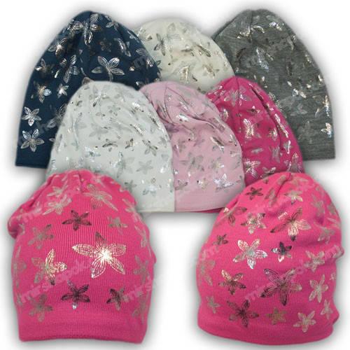Вязаные подростковые шапки для девочек, р. 50-52