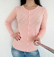Кофта женская кашемировая на пуговицах - персик