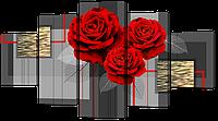 Модульная картина Розы и золото 140* 80 см Код: w8185