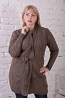 Кардиган женский вязаный коричневый на каждый день., фото 1