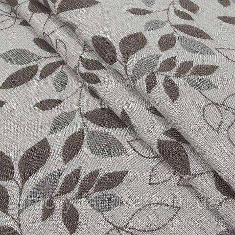 Гобелен ткань, листья березы, коричневый