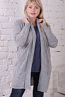 Кардиган женский вязаный серый с поясом.