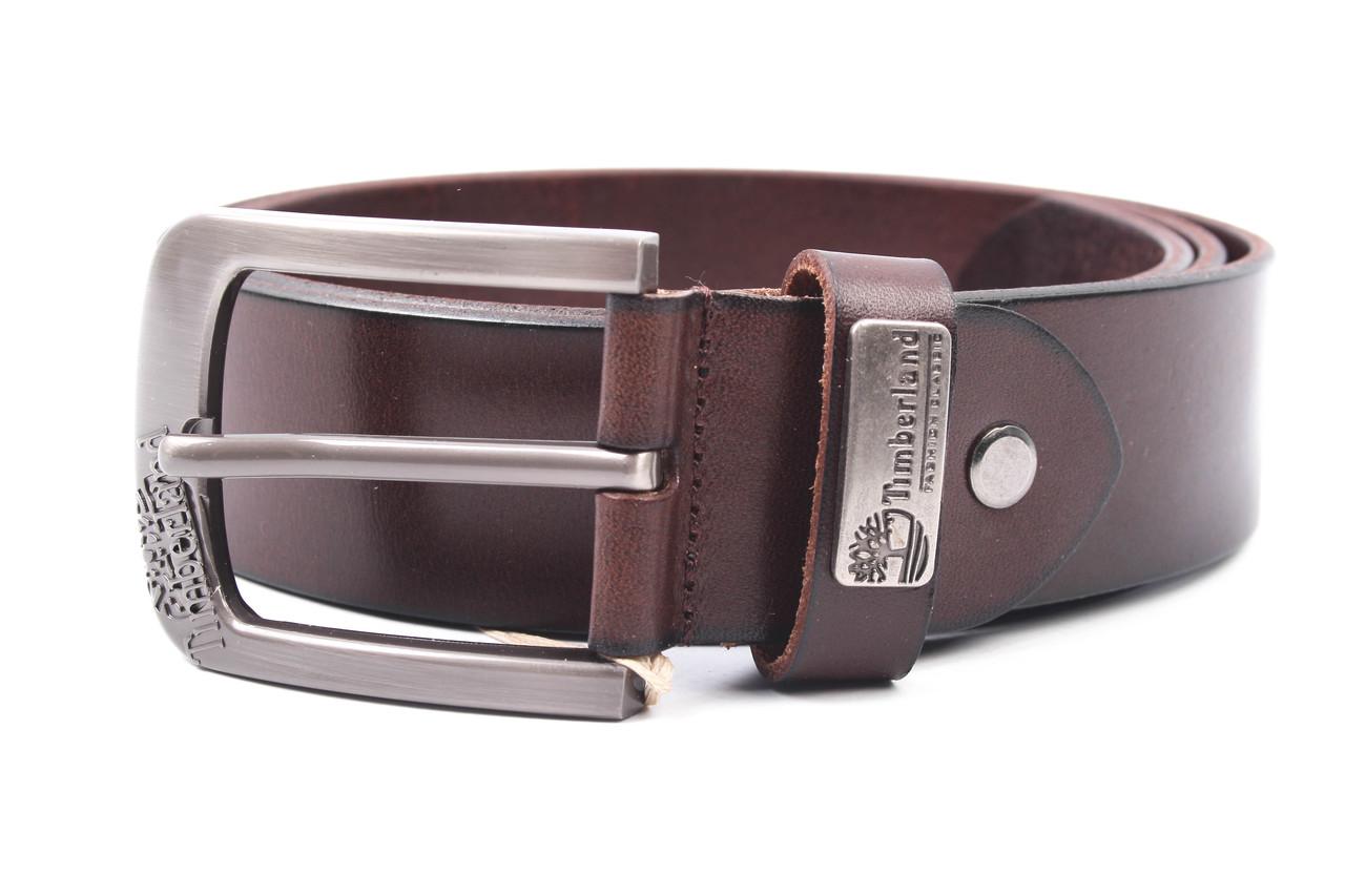 Мужской ремень Timberland джинсовый, цвет коричневый, натуральная кожа (длина 110 см, ширина 3,5 см)