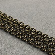 Ланцюжок бижутерийная, ланка 3 х 2 мм, колір - антична бронза, 50 см