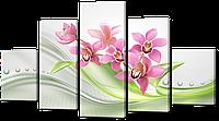 Модульная картина Орхидеи абстракция 140* 80 см Код: w7795
