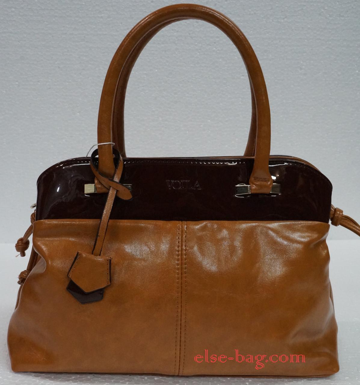 5bcf4c242c1d Женская сумка саквояж с кокеткой рыжая с лаком -