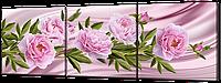 Модульная картина Розовые пионы на розовом 193 * 63 см Код: w8493