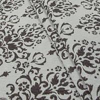 Гобелен ткань, вензель, коричнево-белый