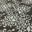 Гобелен ткань, вензель, коричнево-белый, фото 3