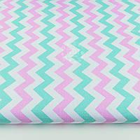 Ткань хлопковая с мятным и розовым зигзагом № 1180