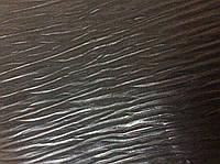 Натуральная кожа чёрная с тиснением волны