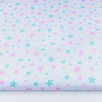 """Бязь """"Звёздная россыпь"""" с мятными и розовыми звёздами на белом фоне, плотность 135 г/м2, № 1181"""